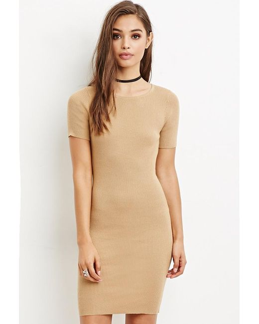 Forever 21 | Natural Ribbed Bodycon Sweater Dress | Lyst