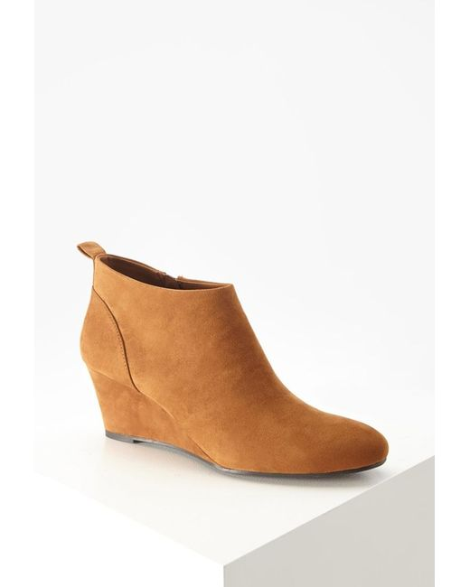 Forever 21 | Brown Faux Suede Wedge Booties | Lyst