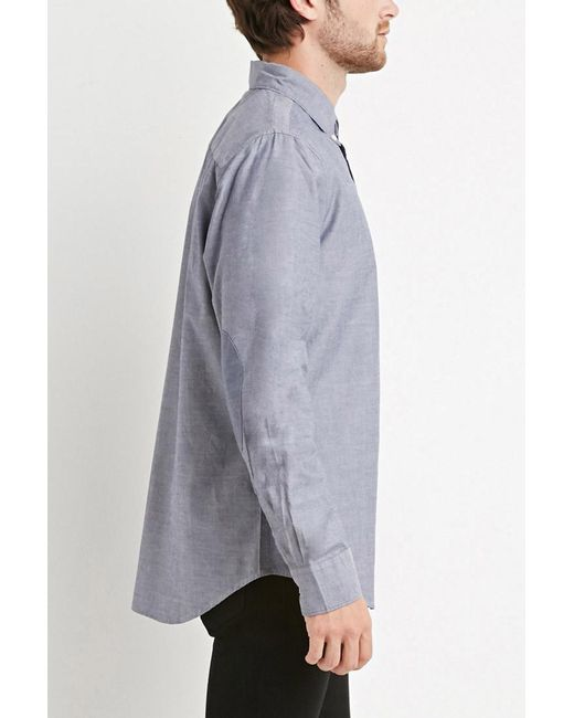 Forever 21 | Blue Chambray-patched Pocket Shirt for Men | Lyst