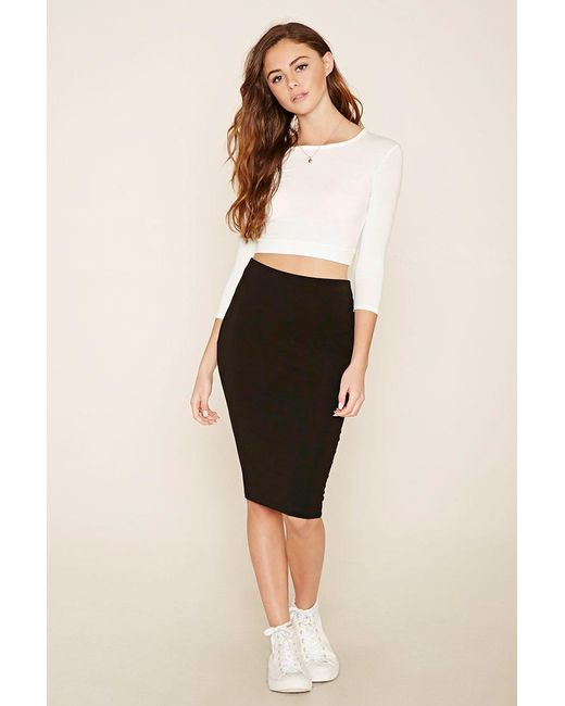 Forever 21   Black Heathered Pencil Skirt   Lyst