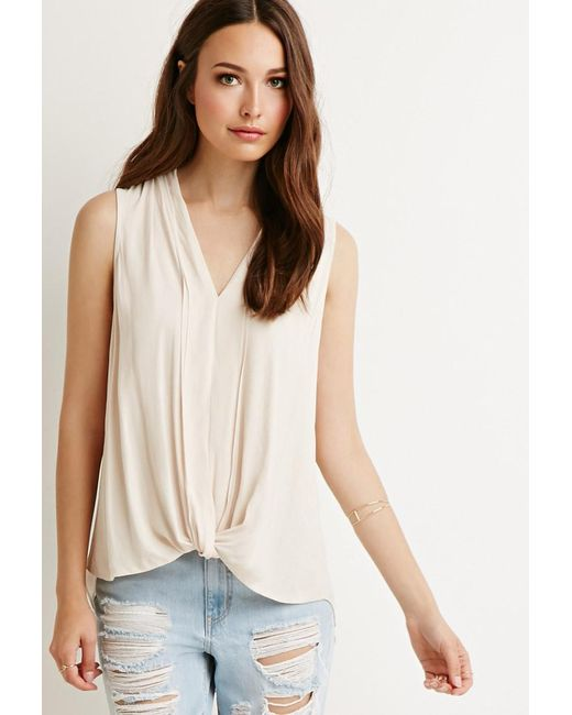 Forever 21   Natural Contemporary Pleated Chiffon Blouse   Lyst