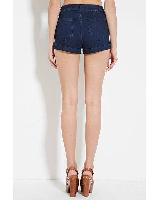 Forever 21 High-waisted Denim Shorts in Blue | Lyst