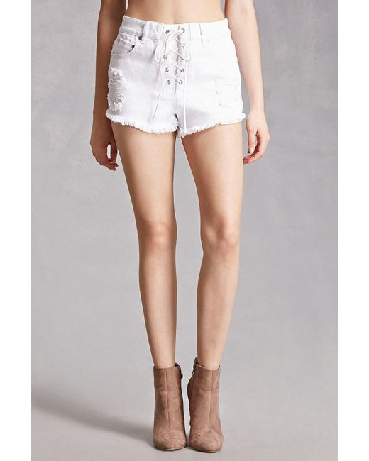 Forever 21 Distressed Lace Up Denim Shorts In White Lyst