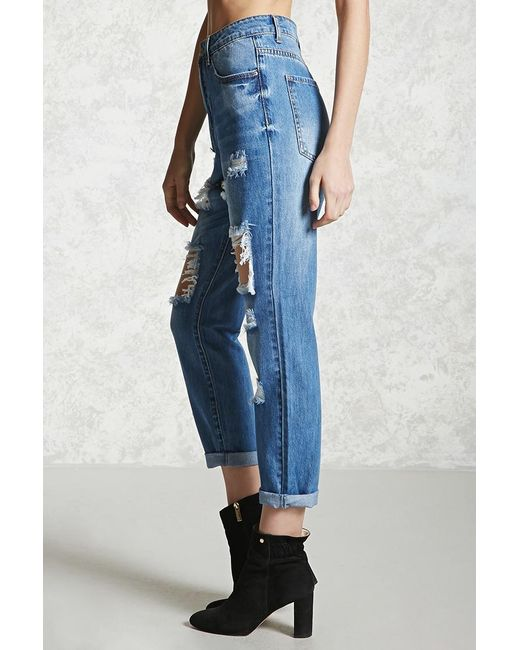fa4a284bcdfd Forever 21 Distressed Mom Jeans in Blue