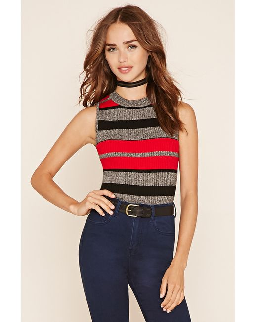 Forever 21 | Black Striped Knit Top | Lyst