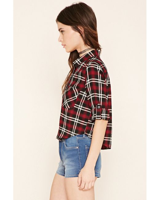 Forever 21 plaid flannel shirt in black lyst for Black watch plaid flannel shirt