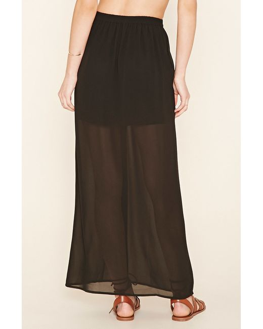 forever 21 semi sheer maxi skirt in black lyst