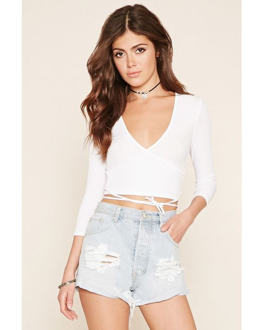 Forever 21 Surplice Crop Top in White | Lyst