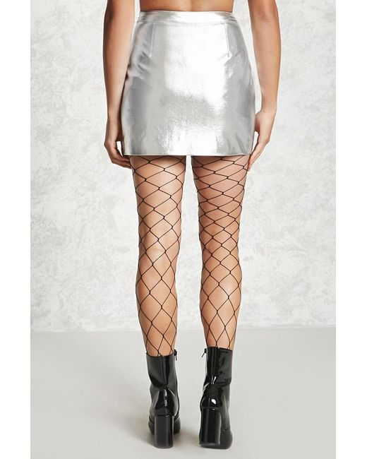 forever 21 metallic faux leather skirt in metallic lyst