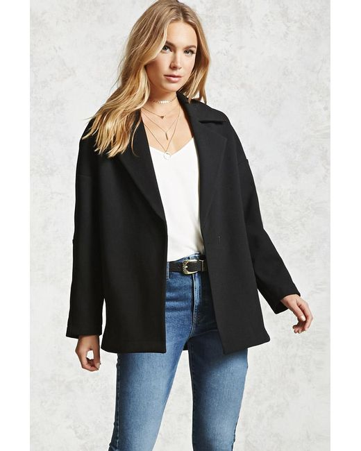 Forever 21 | Black Boxy Single-breasted Coat | Lyst