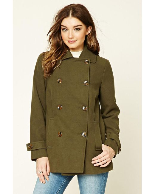 Forever 21 | Green Double-breasted Pea Coat | Lyst
