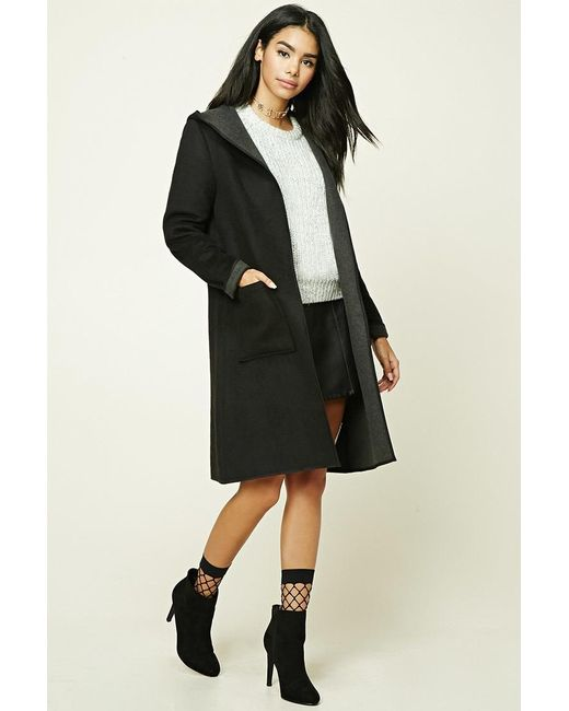Forever 21 | Black Longline Wool-blend Hooded Coat | Lyst