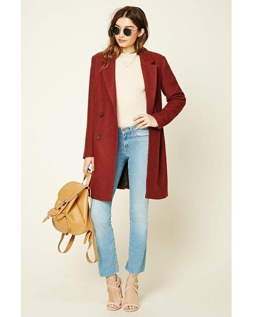 Forever 21 | Red Longline Wool-blend Coat | Lyst