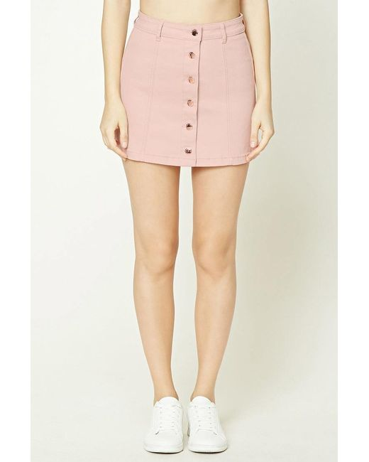Forever 21 Button-front Denim Mini Skirt in Pink | Lyst