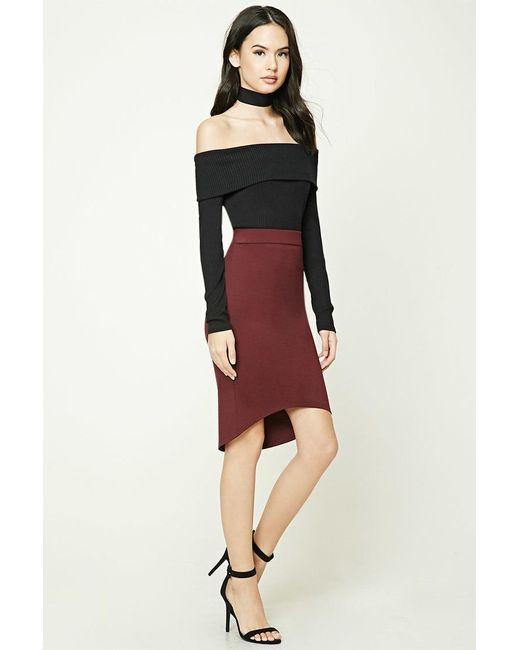 forever 21 highlow bodycon skirt in red lyst