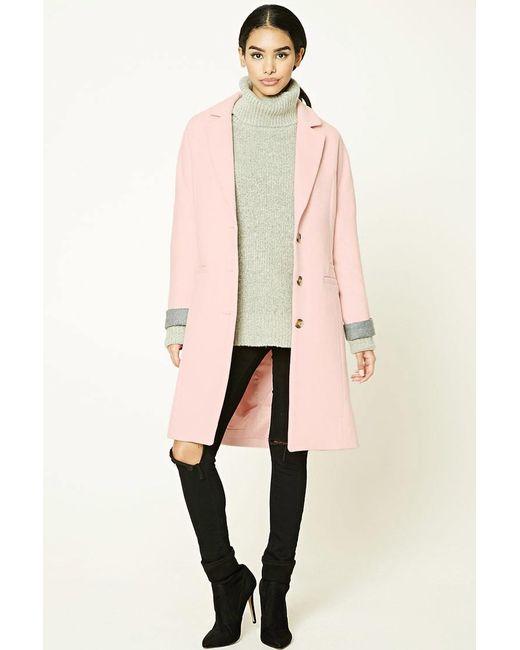 Forever 21 | Pink Au Revoir Longline Coat | Lyst