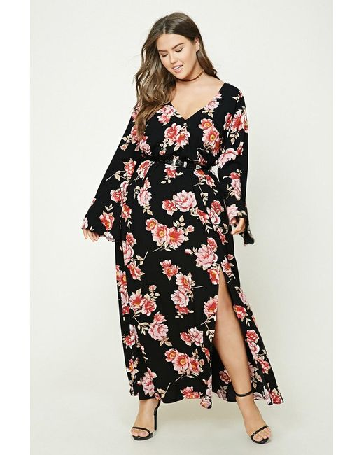 a642ffe2e83c Forever 21 Plus Size Floral Maxi Dress in Black