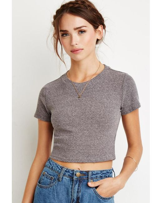 Forever 21 | Gray Ribbed Knit Crop Top | Lyst