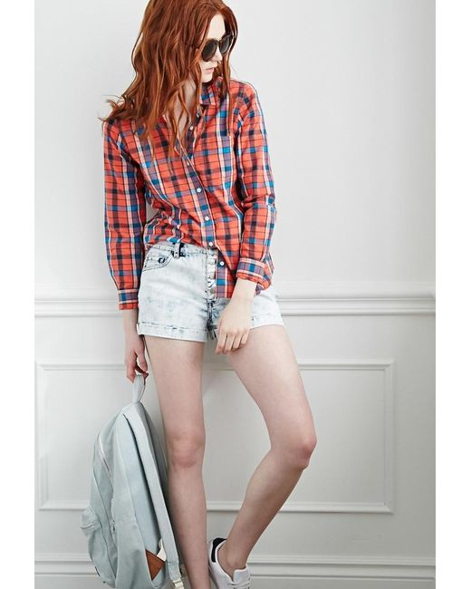 Forever 21 | Blue Buttoned-front Denim Shorts | Lyst