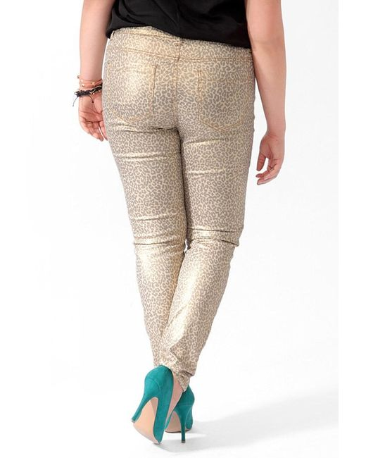 Forever 21 Plus Size Metallic Animal Print Skinny Jeans in