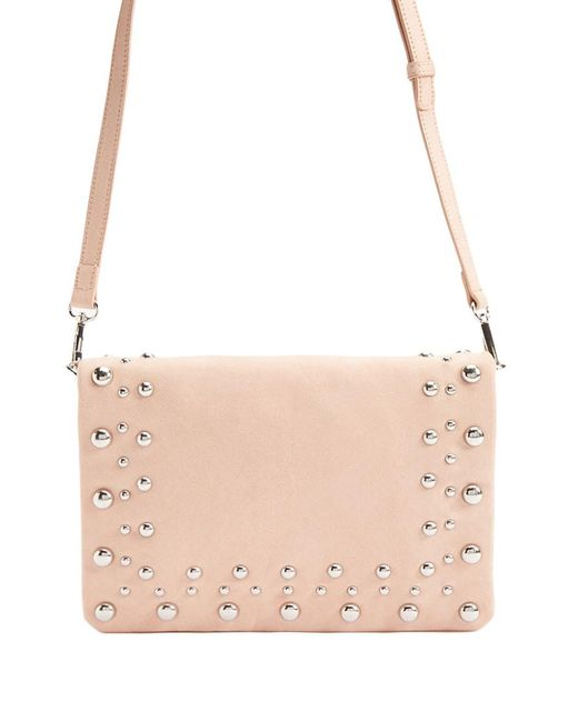 Forever 21 - Pink Faux Suede Beaded Crossbody Bag - Lyst