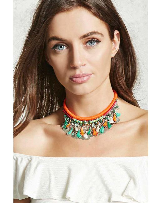 Forever 21 | Multicolor Woven Statement Necklace | Lyst
