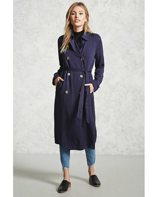 Forever 21 - Blue Double-breasted Trench Coat - Lyst