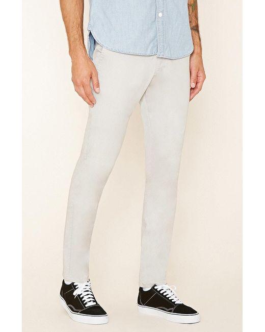 Forever 21 - White Slim Fit Cotton-blend Pants for Men - Lyst