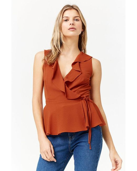 Forever 21 - Multicolor Ruffle Wrap Top - Lyst