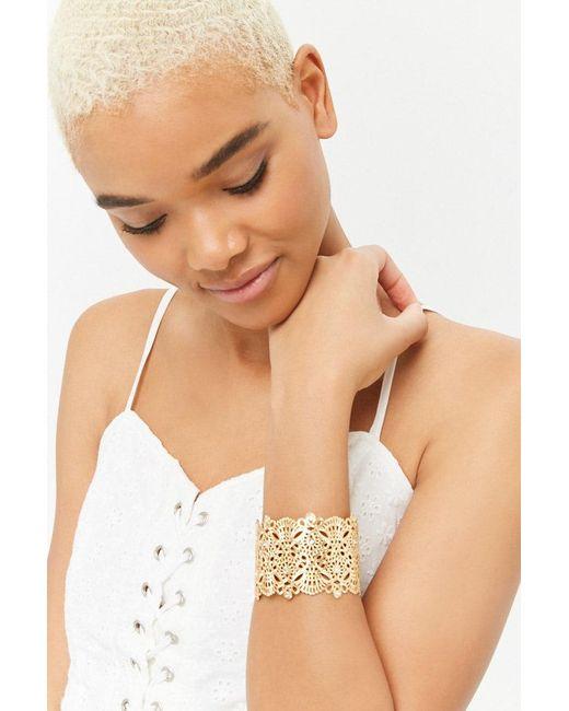 Forever 21 - Metallic Filigree Cuff Bracelet - Lyst