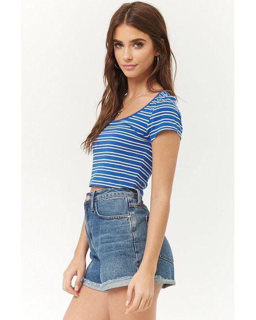 34e3a3c5346cf ... Forever 21 - Blue Striped Crop Top - Lyst