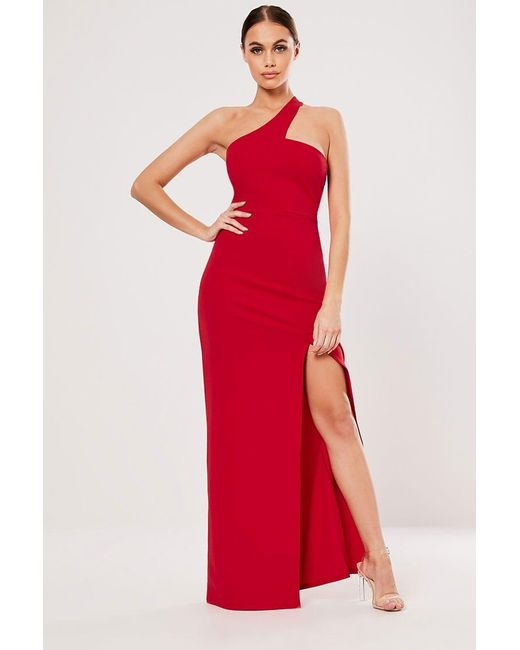 Missguided - Red One-shoulder Gown At - Lyst