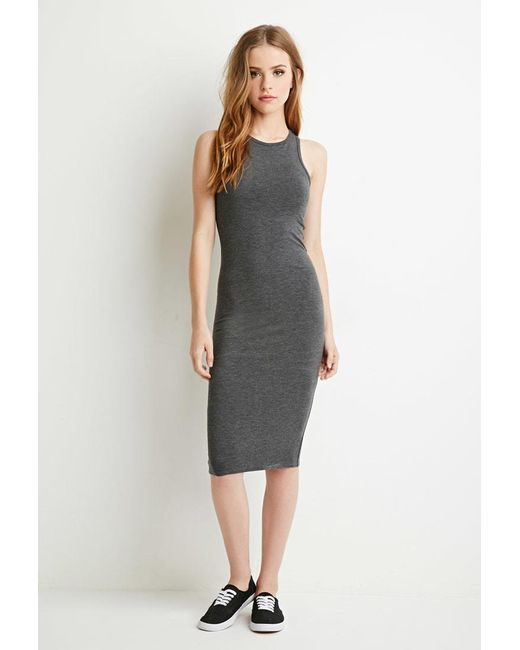 Forever 21 | Gray Heathered Midi Dress | Lyst
