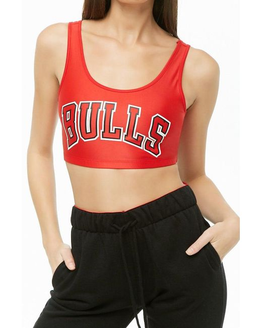 Forever 21 - Nba Bulls Graphic Crop Top , Red/black - Lyst