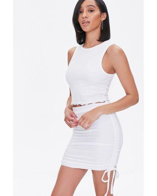 Forever 21 White Ruched Drawstring Mini Skirt