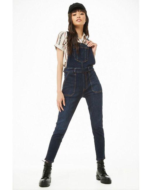 c1669abb927 Forever 21 Women's Skinny-leg Denim Dungarees in Blue - Lyst