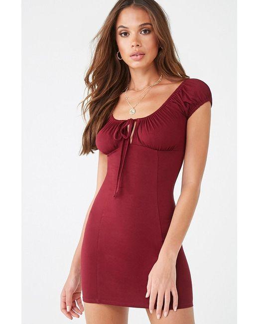 Forever 21 Shirred Mini Dress , Burgundy