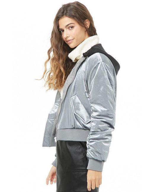 66245efd5 Forever 21 Women's Velvet Hooded Padded Bomber Jacket in Gray - Lyst