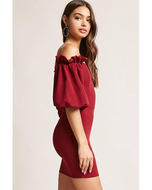 Forever 21 Sleeve Dress: Forever 21 Balloon Sleeve Bodycon Dress In Red
