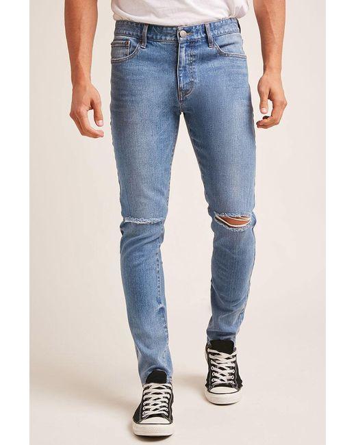 Forever 21 | Blue Distressed Knee Skinny Jeans for Men | Lyst