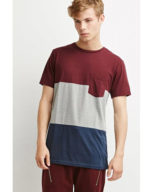 Forever 21 | Purple Colorblocked Pocket Tee for Men | Lyst