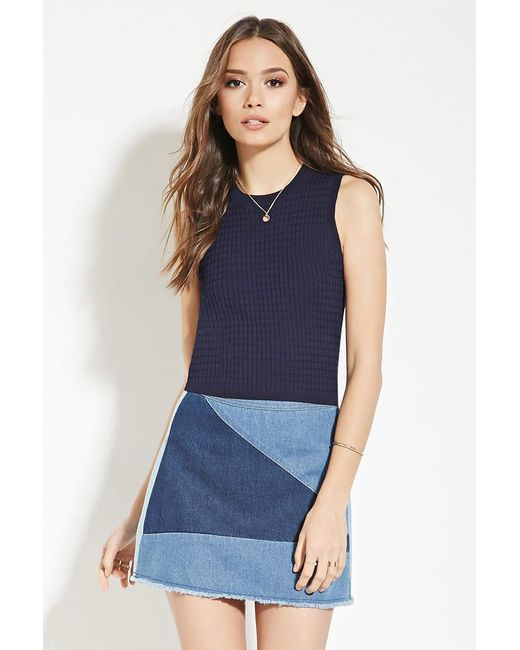 Forever 21 | Blue Contemporary Knit Top | Lyst