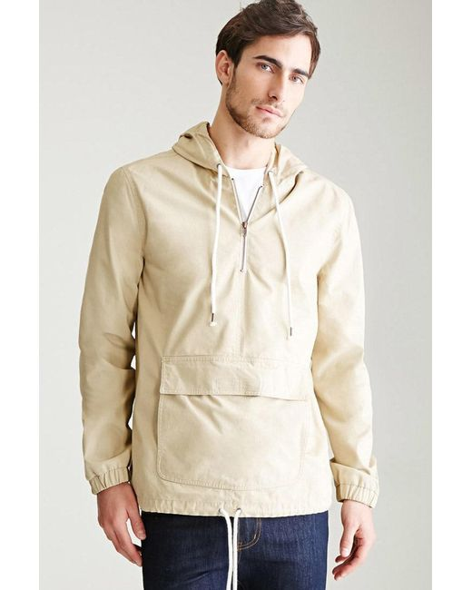 Forever 21 - Natural Hooded Cotton Canvas Anorak - Lyst