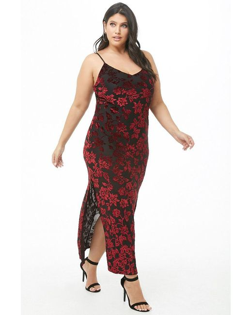 d32e385e2e0 Forever 21 Women s Plus Size Floral Velvet Maxi Dress in Red - Lyst