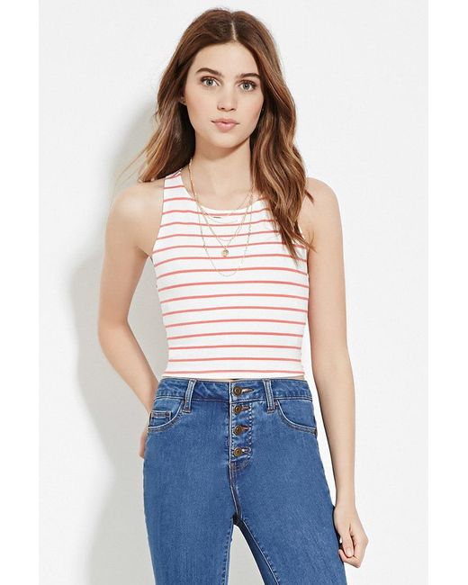 Forever 21 | Red Stripe Crop Top | Lyst