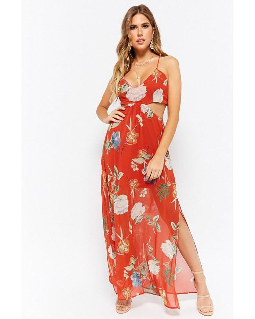 Forever 21 - Red Floral Maxi Dress - Lyst