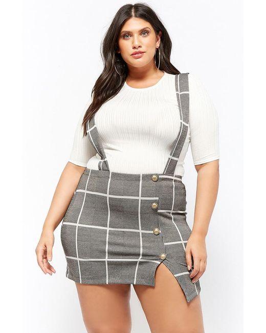Forever 21 - White Women's Plus Size Ribbed Top & Glen Check Skirt Set - Lyst
