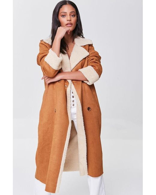 Forever 21 Brown Faux Shearling-trim Co