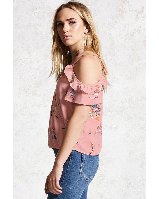 71343a0fed010 ... Forever 21 - Pink Floral Open-shoulder Top - Lyst