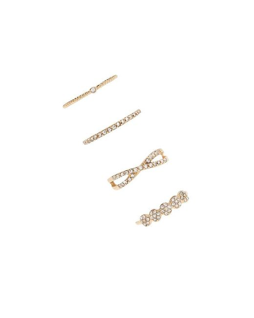Forever 21 - Metallic Stackable Rhinestone Ring Set - Lyst